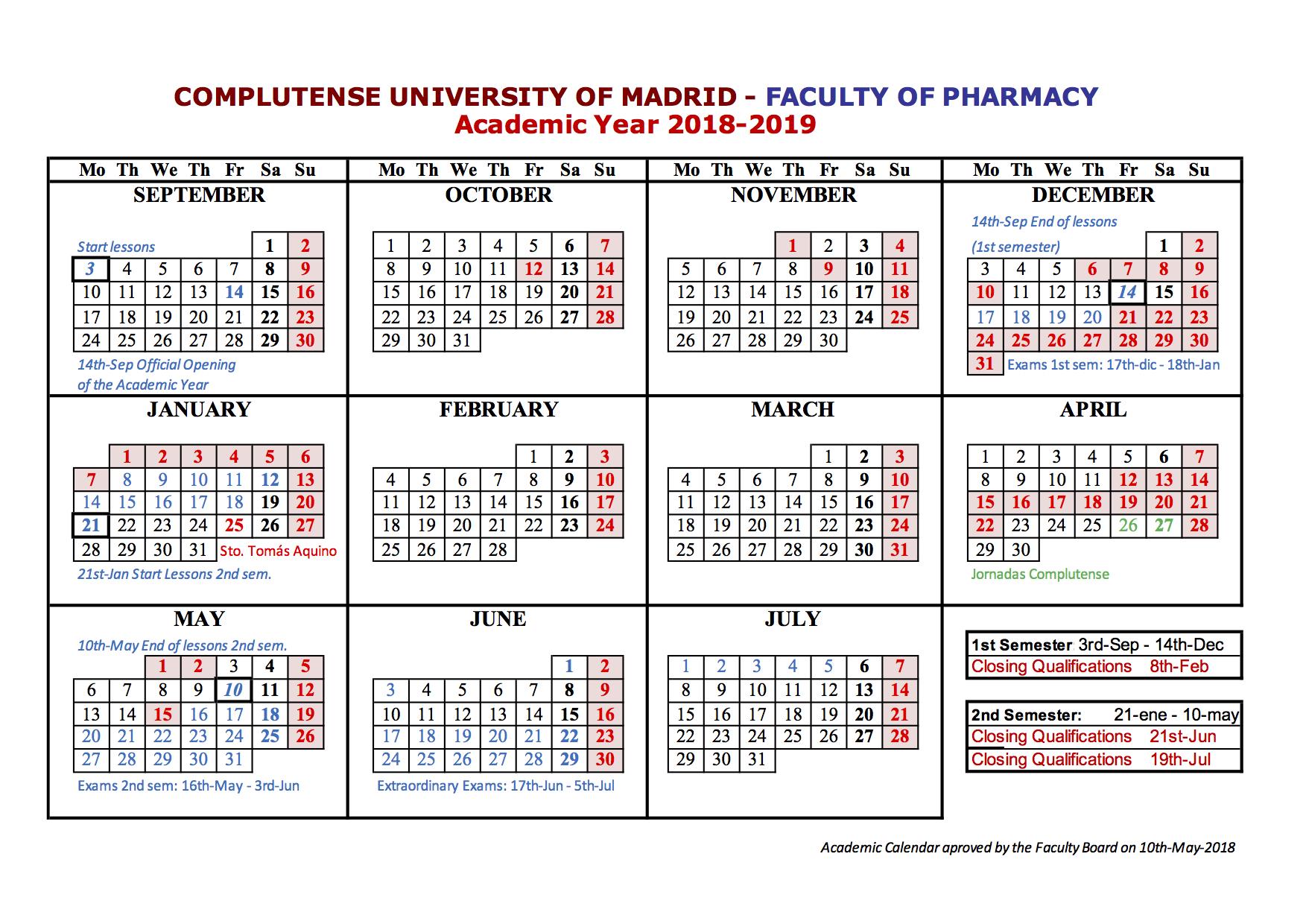 Ucm Academic Calendar.Ucm Faculty Of Pharmacy