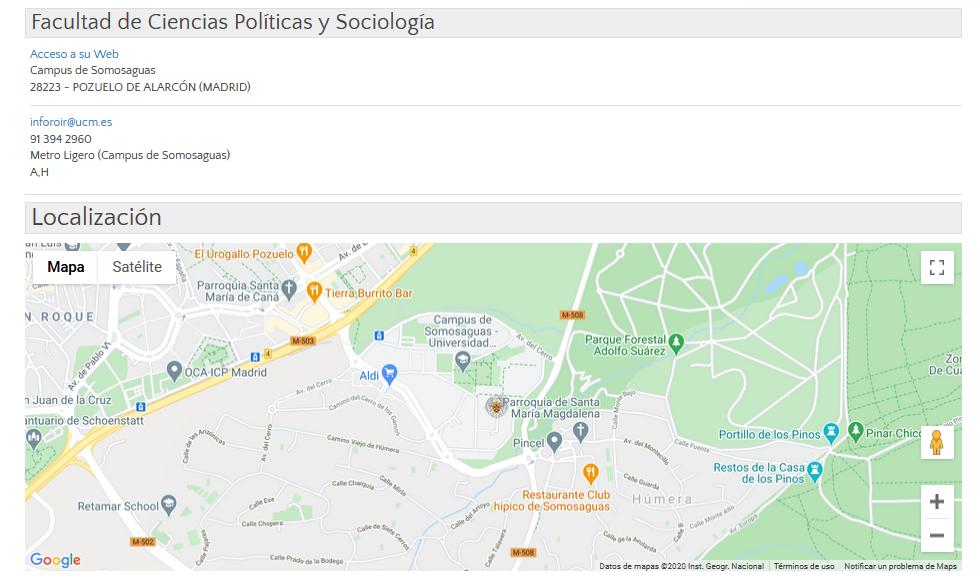 Localización de la facultad