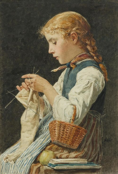 Albert Anker - Girl Knitting - 1884