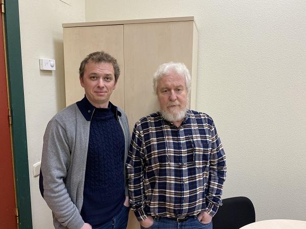 Rubén Miranda y Luis Miguel García Moreno en la Facultad de Educación. / UCM.