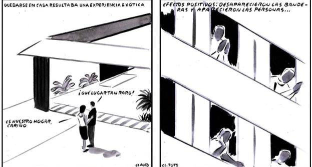 Viñetas de El Roto en El País el 16 de marzo y el 8 de abril, respectivamente. / El País.