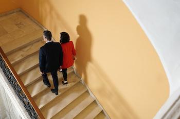 Pedro Sánchez e Isabel Díaz Ayuso en la sede de la Comunidad de Madrid. / Comunidad de Madrid.