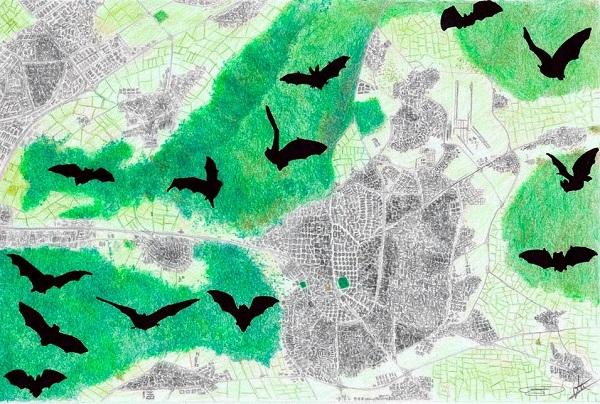 Dibujo de la distribución de algunas zonas protegidas alrededor de Madrid. / Daniel Truchado y David A. Oropesa