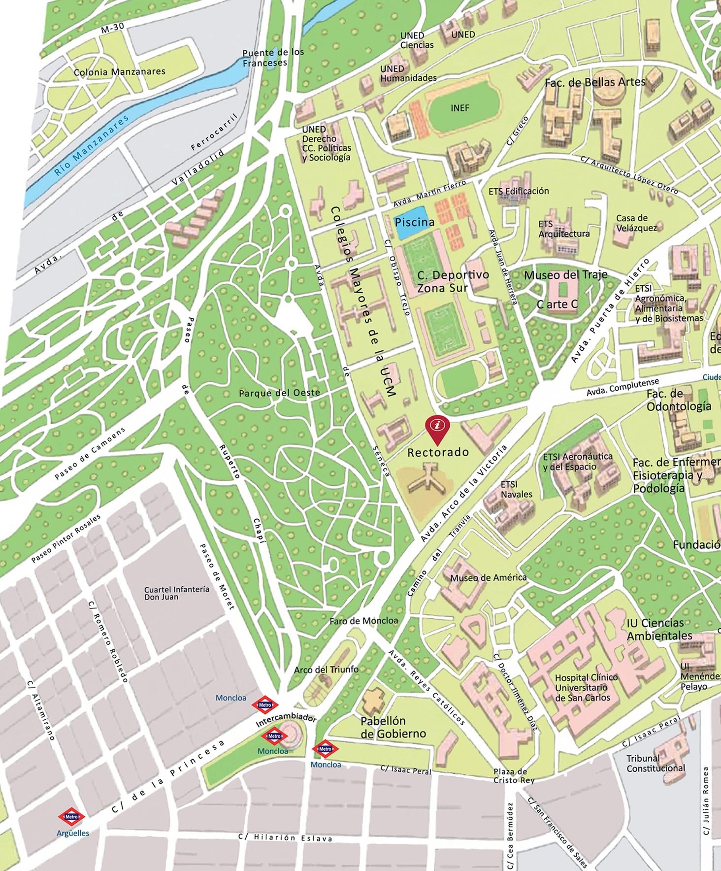 Plano ciudad universitaria ubicación Rectorado